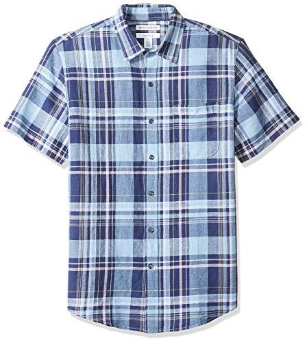 Amazon Essentials Leinenhemd Slim-Fit Kurzarm Herren  Gingham-Karo, Navy Plaid, US XXL (EU XXXL - 4XL)