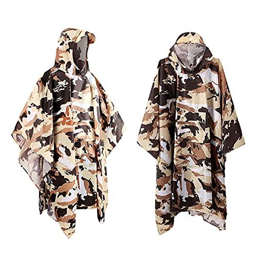 DSFSAEG Poncho de lluvia impermeable 3 en 1 portátil reutilizable chaqueta con capucha con bolsillo para adultos actividades al aire libre (camuflaje)