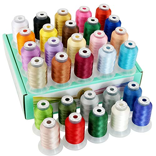 New brothread 30 Colors Polyester Embroidery Machine Thread Kit 500M (550Y) Each Spool - Colors Compatible with Janome and Robison-Anton Colors - Assortment 1
