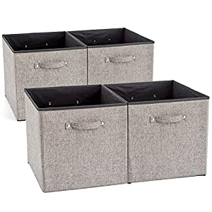 EZOWare 4 Pack Fabric Foldable Cubes Bin Organizer Container with Handles for Nursery, Closet, Office, Home – Gray (13 x 15 x 13 inch)