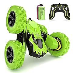 Idea Regalo - SGILE Macchina Telecomandata per Bambini, 4WD Auto Telecomandata con Batteria Ricaricabile, RC Macchina Acronazia Rotazione a 360 Gradi Regalo Verde