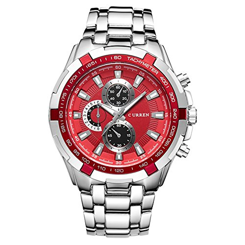 Mens Watches,CURREN Watches Quartz Analog Calendar,Wrist Watch for Men, Fashion Waterproof Stainless Steel Band-Red