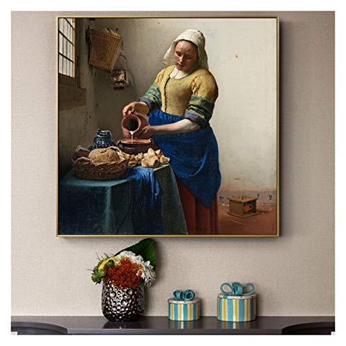 LTGBQNM Johannes The Milkmaid Pinturas de Arte Famosas en la Pared Arte Pósteres y Impresiones Holandés Edad de Oro Age Obras de Arte Famosas Cuadros 24InChx32InCH Sin Marco