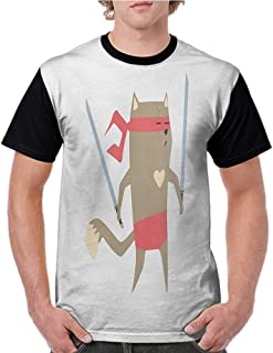 Printed Causal Tops Blouse,Japanese,Crime Fighter Ninja Cat and Heart Cartoon Superpower Animal Fighter Funny Design,Red Brown S-XXL Printed Tee Female Baseball Shirt