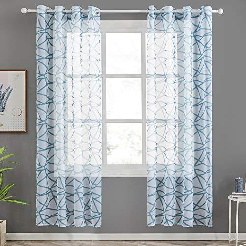 cortinas salon modernas 2 piezas turquesa