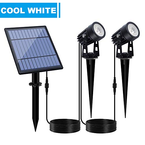 APONUO Solar Spotlights Solar Powered Landscape Lights Low Voltage IP65 Waterproof 16.4ft Cable Auto On/Off for Outdoor Garden Yard Cool White