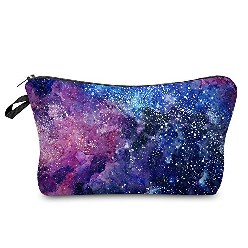 Makeup Toiletry Cosmetic Travel Carry Bag Zippered Luggage Pouch Multifunction Make-up Bag Pencil Holder Organizer for Men and Women (Cool Starry Sky)