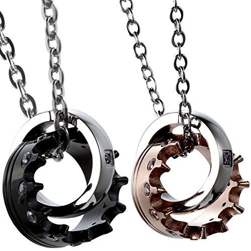 Oidea–Collar para parejas. Collar de acero inoxidable. Colgante Anillo Corona Imperial mosaico circonia Regalo para enamorados En color negro y oro (1 par)