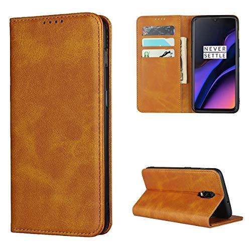 Copmob Hülle Oneplus 6T,Premium Flip Leder Brieftasche Handyhülle,[3 Kartensteckplatz][Ständerfunktion][Magnetverschluss],Ledertasche Schutzhülle für Oneplus 6T - Hellbraun