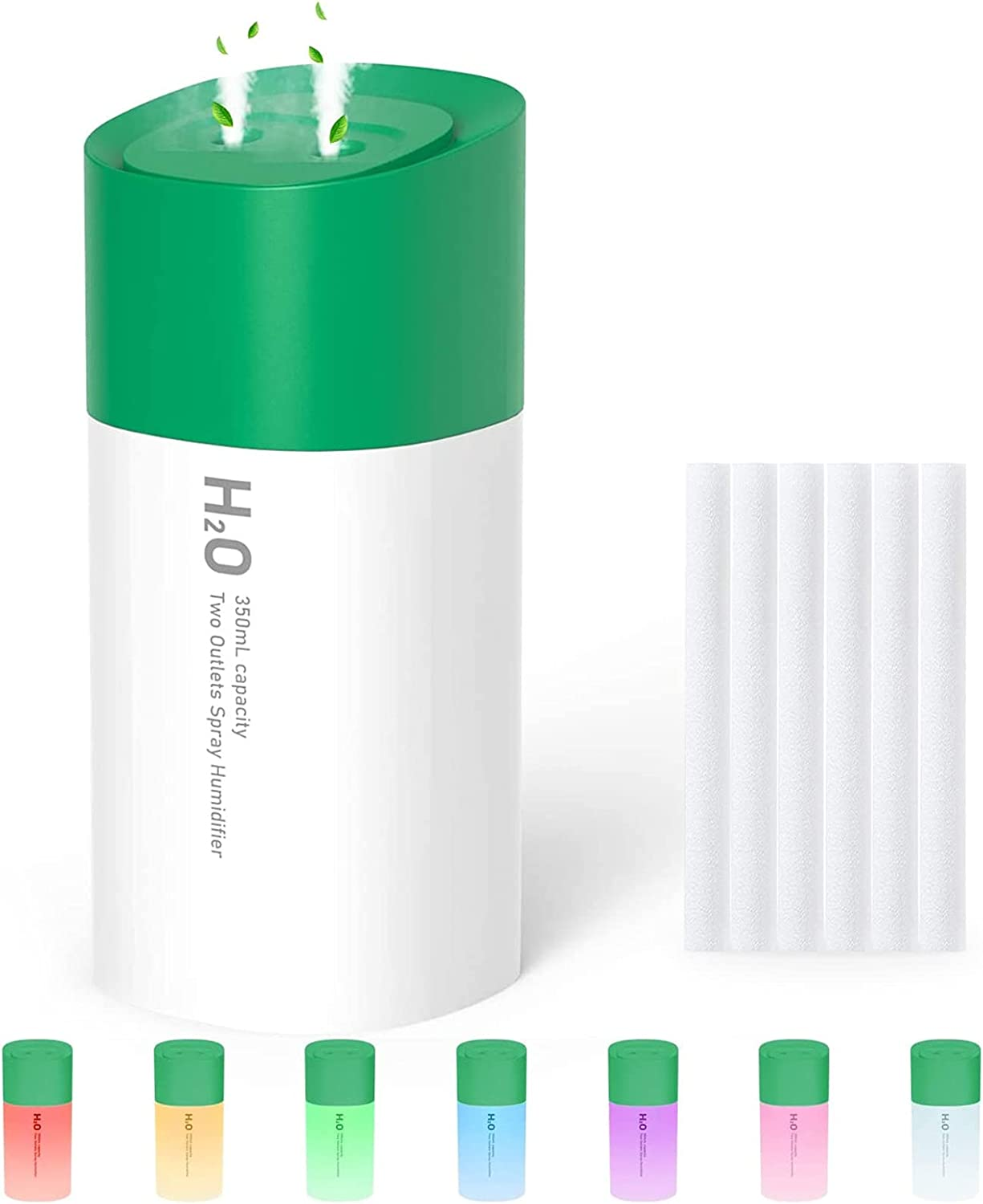 Portable Mini Humidifier Double Spray,350ml Small Cool Mist Humidifier - Quiet USB Personal Desktop Humidifier for Home Baby Bedroom Travel Office and Car,Auto Shut-Off and Night Light Function(Green)
