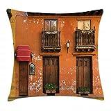 ABAKUHAUS America Funda para Almohada, Cartagena Calles Photo, Decorativo, Estampado en Ambos Lados, 40 x 40 cm, Marrón Anaranjado