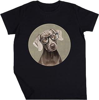 Señor Weimaraner Niño Niña Unisexo Negro Camiseta Manga Corta Kids Black T-Shirt