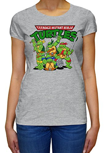 The Turtles Teenage Mutant Ninja Funny Logo Graphic Design Women's T-Shirt Large