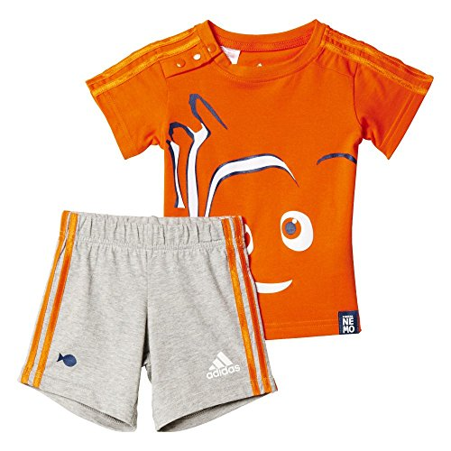 adidas Kinder Trainingsanzug INF DYQ Nemo SS, Orange / Weiß, 80, 4055344424933