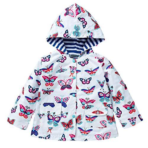 Cazadora Chica Impermeable a Prueba De Agua Para Niñas Primavera y Otoño Abrigo Con Capucha De Manga Larga 2-6 Años (Mariposas Multicolores)