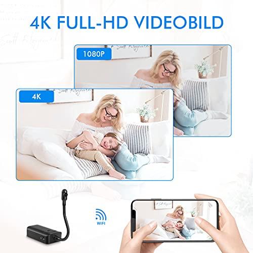 MCSTREE Mini Kamera mit Metallschlauch, 4K HD Überwachungskamera WiFi Innen mit Wiederaufladbarem Akku und Lange Akkulaufzeit, Bewegungserkennung