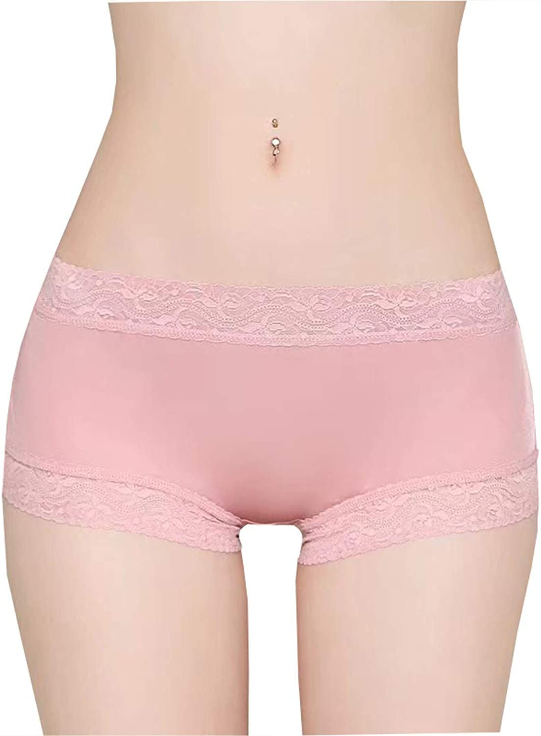 METWAY Women's New Mulberry Silk Lace No Show Panties