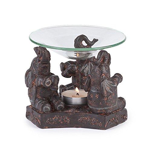 Pajoma 79680 - Diffusore per Oli Essenziali, Base Decorata con Elefanti, 13 cm