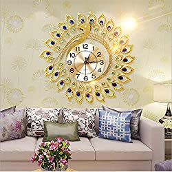SHENGJIAN European Modern Creative Living Room Wrought Iron Wall Clock Gold Peacock Phoenix Metal Wall Clock Aluminum Plate Creative Clock