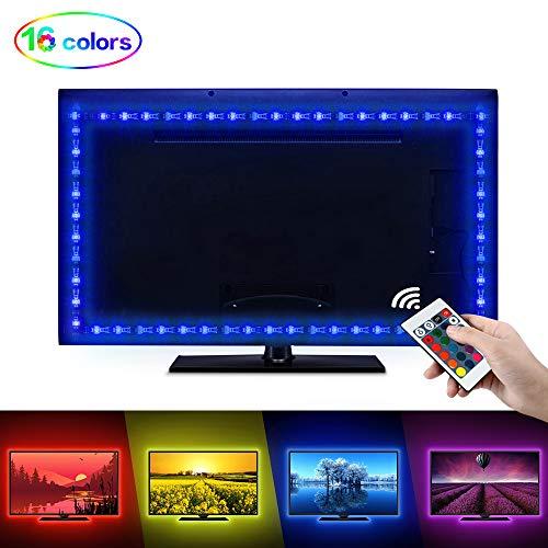 LED Tira de TV, opamoo Tiras LED Iluminación 2M USB Tira de LED Retroiluminación LED de TV USB Tira De Luz mit Control Remoto 24 Botones para TV DE 40 A 60 Pulgadas HDTV, Monitor De PC