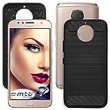 mtb more energy® Schutz-Hülle Carbon für Motorola Moto G5S Plus (XT1803/XT1805 / 5.5'') - Schwarz - flexibel - TPU Hülle Cover Tasche