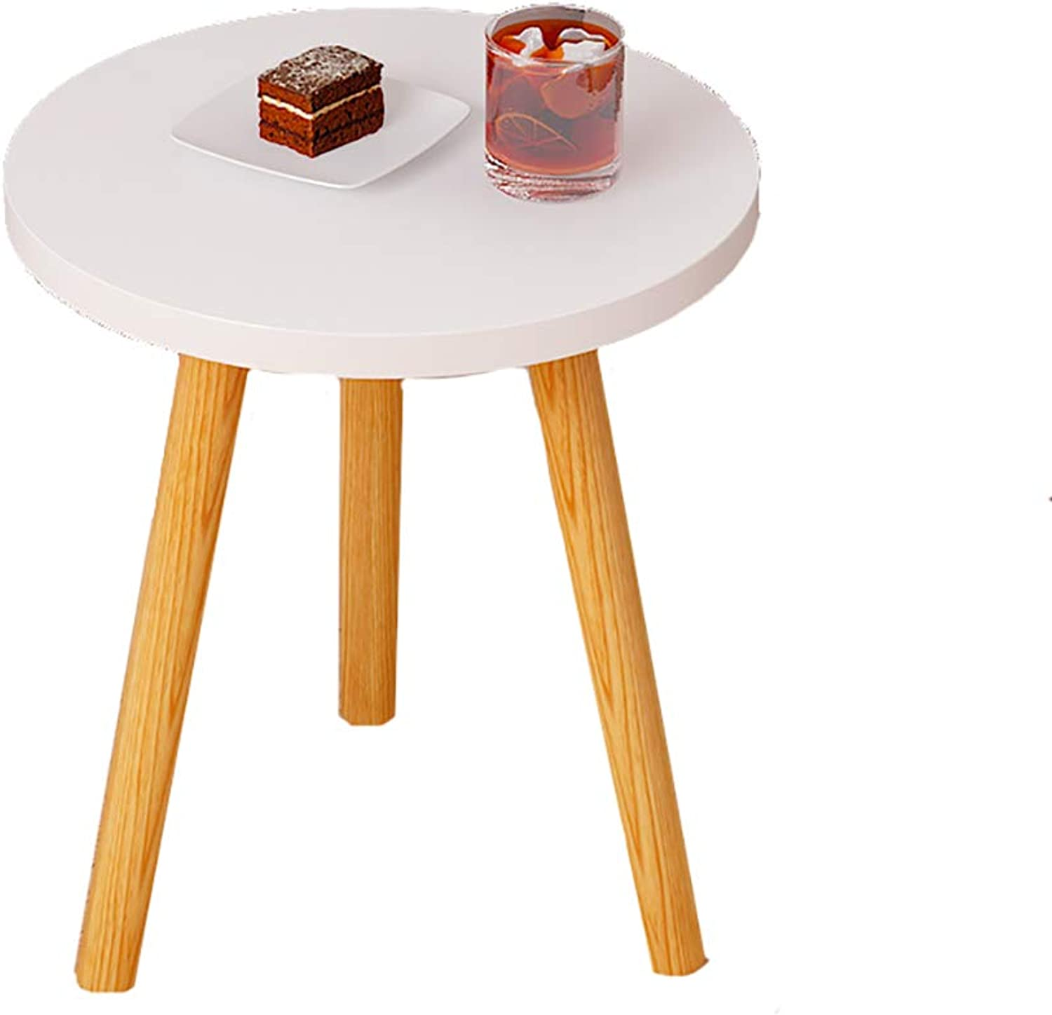 Round End Table Living Room,Coffee Table,Sofa Hall Table for Small Space,Three Legged Solid Wood End Table,White (Size   40  40  42.5CM)