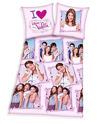 Violetta Ropa de cama Disney funda de edredón de 135x 200cm y 80x 80cm, microfibra de (4)