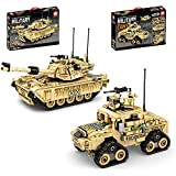 CALEN Technics 2 en 1 kit de modelo de construcción de tanques, 801 piezas militares, moderno, tanques para adultos y niños, compatible con Lego Technic-amarillo