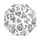Calabaza Happy Halloween Paraguas blanco calavera mujeres niñas hombres cierre automático pequeño bolsos lluvia domingo señoras 3 plegable