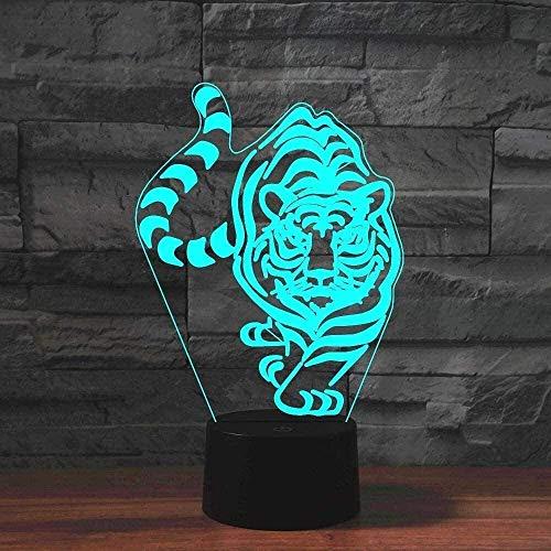 Luz de noche LED 3D 3D tigre luces de la noche, lámpara con control remoto y temporizador y Smart táctil de 7 colores que cambian la tabla de escritorio del dormitorio de la ilusión óptica de Deco lám