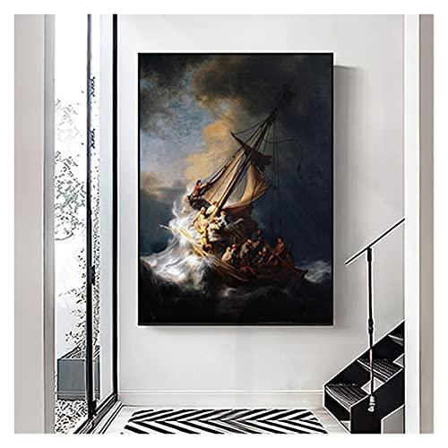 CBYLDDD Famosa por Rembrandt Van Rijn The Storm Sea de Galilea Holandesa Oro Golden Age Pintor Poster Art Fotos de Arte de la Pared for la Sala de Estar 20x28 Sin Marco