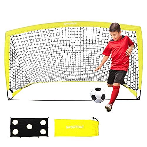 Sportout Portería de fútbol portátil, Red de Entrenamiento para el Patio Trasero, jardín, Interior, vestíbulo, Entrenamiento, porterías de Ejercicios (1,9 x 1,1 x 1,1 m) (1 Pack)