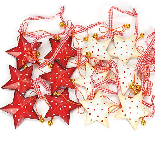 SZMRCA Decoraciones navideñas 12 Piezas Estrella de Metal Vintage con campanita Decoración del árbol de Navidad Feliz Navidad para Colgar en casa, 12 Piezas Rojo