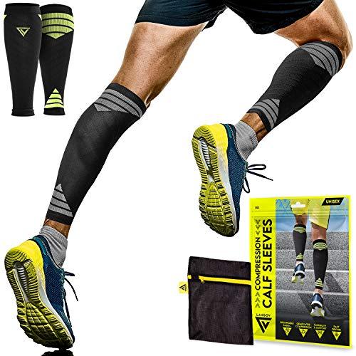 Langov Calf Compression Sleeves (Pair) for Men & Women– Legs & Calves Support Brace for Shin Splints, Varicose Veins, Pain Relief - Great for Running, Nurses, Travel (20-30 Mmhg), Laundry Bag Included