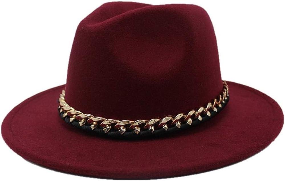 PANFU-US Men's and Women's Autumn and Winter Fedora Hat Couple Dating Outdoor Humboldt Travel Woolen Hat Wide Side Jazz Cap