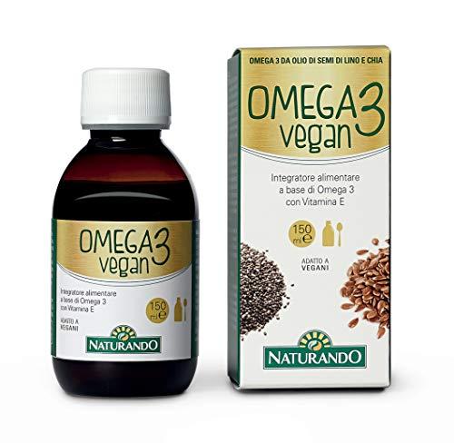 NATURANDO OMEGA 3 VEGAN Flacone da 150ml - Integratore alimentare per il metabolismo dei trigliceridi e la normalizzazione dei livelli di colesterolo