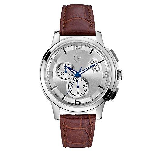 GUESS COLLECTION HEREN CHRONOGRAPH BRUIN LEER armband datum klok X83005G1S