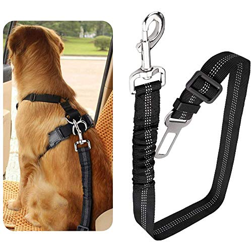 Cintura di Sicurezza per Auto da 1 Pacco per Animali Domestici, Regolabile per Auto con Bungee Buffer in Nylon Elastico, Cintura di Sicurezza per Cani Cintura di Sicurezza per Auto (Nero)