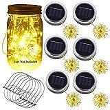 Yme - 6 lámparas solares con tapa para tarro de cristal con luces LED para colgar en la pared, en el exterior, en la mesa, en el jardín, decoración (tarros Mason no incluidos)