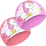 Best Waterproof Swim Caps - JenPen 2 Pieces Kids Unicorn Swim Cap Silicone Review