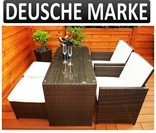 Ragnarök-Möbeldesign PolyRattan - DEUTSCHE Marke - EIGENE Produktion - 8 Jahre GARANTIE auf UV Besträndigkeit - Garten Möbel Glas und Polster Tisch mit 2 Stühlen & 2 Hocker 6 Polster Balkon Set Braun