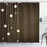 N\A Schokoladen-Duschvorhang, abstrakte Blumen mit gepunkteten Linien Vintage Inspirationen in romantischer Zusammensetzung, Stoff-Stoff-Badezimmer-Dekor-Set mit Haken, beige Braun