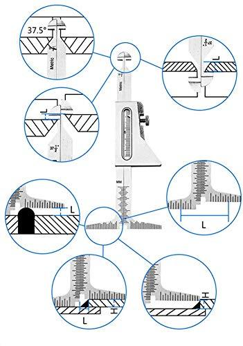 Regla de soldadura, Grande y Especificación de soldadura baja, Wrong Side Regla, soldadura Altura indicador de prueba de Regla, milimétricas micrómetro Detazhi