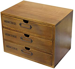 Smartcoco Vintage Solid Wood Storage Chest Box with 3-Drawers Cosmetic Desktop Organizer