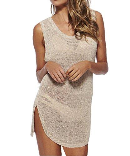 L-Peach Damen Sommer Stricken Strandtunika Strandkleid Sommerkleider Strandhemd Bademode Bikini Cover Up One Size Beige