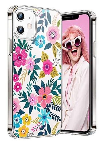 Compatibile con iPhone 12 Mini 5G Cover Silicone Trasparente TPU Flessibile Marmo Cover 360 Silicone Case per iPhone 12 Mini 5G Fiore Cover Cover per iPhone 12 Mini 5G Cellulare Bimba 5.4