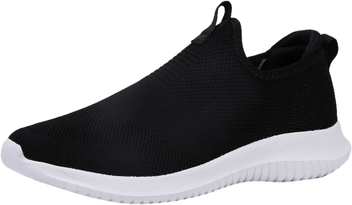 Slip On Walking Shoes for Women Mens Lightweight Breathable Non Slip Running Shoes Comfortable Fashion Sneakers(Black,6)