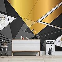 壁の写真の壁紙3Dモダンブラックゴールド幾何学模様テレビ背景壁壁画リビングルーム装飾壁アート 350cmx256cm