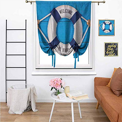 Buoy Roman Curtain Indoor Welcome on Board Sign on Painted Timber Wall Life Buoy Tightened with Rope Block Light W27 x L64 Inch Blue Navy Blue White