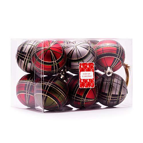 Every Day is Christmas Akzentkugeln, 57 mm, Set mit 12 Stück, rot und grün, kariert, traditionell, bruchsicher